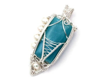 Larimar necklace, sterling silver wire wrapped pendant, gemstone jewelry, aquamarine stone necklace, turquoise crystal Atlantis necklace