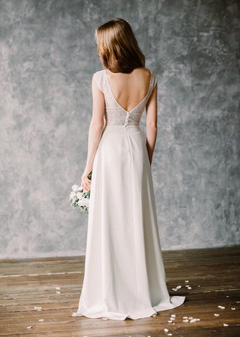 Boho wedding dress  lace wedding dress with open back  image 0