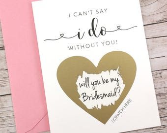 Bridesmaid Scratch Off Card, Will You Be My Bridesmaid Card, Bridesmaid Proposal Card, Wedding Card, Bridesmaid Gift - (FPS00S1)
