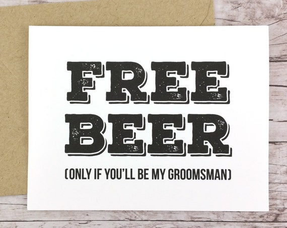 Free Beer Card Will You Be My Groomsman Card (FPS0012)