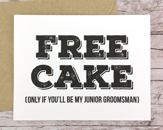 Free Cake Card Will You Be My Junior Groomsman Card (FPS0012)
