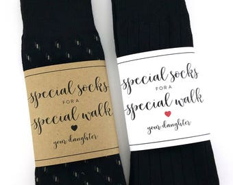 Special Socks for a Special Walk Sock Wrapper, Father of the Bride Gift, Wedding Day Gift, Wedding Socks Wrapper, Wedding Socks Label