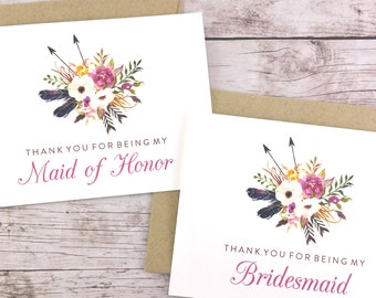 SET OF Thank You For Being My Bridesmaid Cards, Maid of Honor Cards, Flower Girl Cards, Matron of Honor Cards - (FPS0022)
