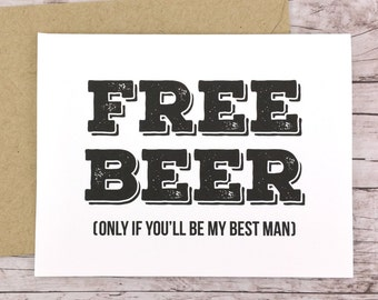 Free Beer Card Will You Be My Best Man Card (FPS0012)