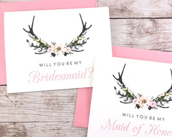 SET OF Will You Be My Bridesmaid Cards, Maid of Honor Cards, Flower Girl Cards, Matron of Honor Cards - (FPS0024)