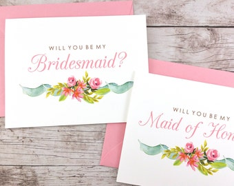 SET OF Will You Be My Bridesmaid Cards, Maid of Honor Cards, Flower Girl Cards, Matron of Honor Cards - (FPS0019)
