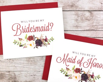SET OF Will You Be My Bridesmaid Cards, Maid of Honor Cards, Flower Girl Cards, Matron of Honor Cards - (FPS0050)