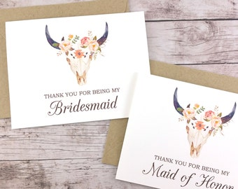 SET OF Thank You For Being My Bridesmaid Cards, Maid of Honor Cards, Flower Girl Cards, Matron of Honor Cards - (FPS0010)
