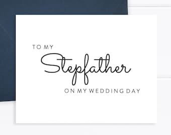 hand lettered notecard with envelope To My Stepfather On My Wedding Day Card folded