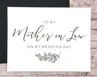 To My Mother in Law On My Wedding Day Card, Mother Card, Wedding Card, Mother of the Bride, Mother of the Groom  - (FPS0062)