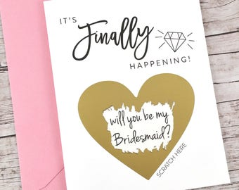 Bridesmaid Scratch Off Card, Will You Be My Bridesmaid Card, Funny Bridesmaid Card, Funny Bridesmaid Proposal - (FPS00S15)
