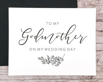 To My Godmother On My Wedding Day Card, Godmother Card, Wedding Card, Godmother Gift - (FPS0062)
