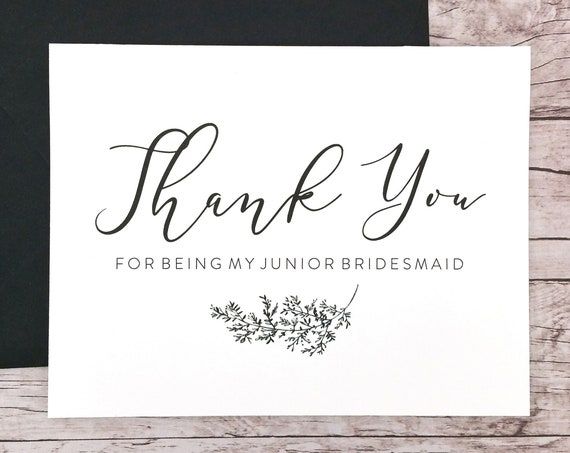 Thank You For Being My Jr. Bridesmaid Card (FPS0062)