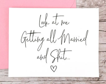 Look At Me Getting All Married Card, Bridesmaid Proposal Card, Bridesmaid Card, Maid of Honor Card - (FPS0061)