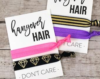 Bachelorette Party Hair Ties, Bachelorette Party Favors, Bachelorette Hair Ties, Bridesmaid Gift, Hangover Hair Don't Care - (FPSHT13)
