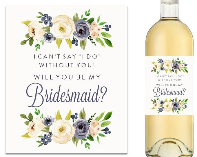 Will You Be My Bridesmaid Wine Label Bridesmaid Proposal Wine Label (FPS0000)