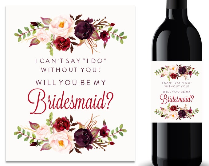 Will You Be My Bridesmaid Wine Label Bridesmaid Proposal Wine Label (FPS0050)