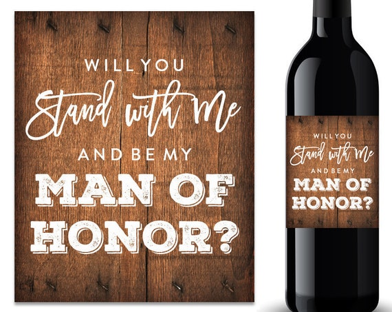 Will You Be My Man of Honor Wine Label (FPSWL03)