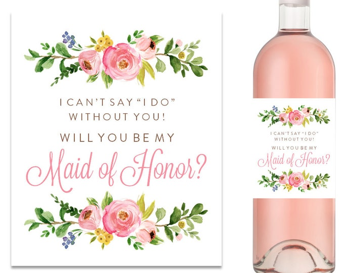 Will You Be My Bridesmaid Wine Label Bridesmaid Proposal Wine Label (FPS0001)