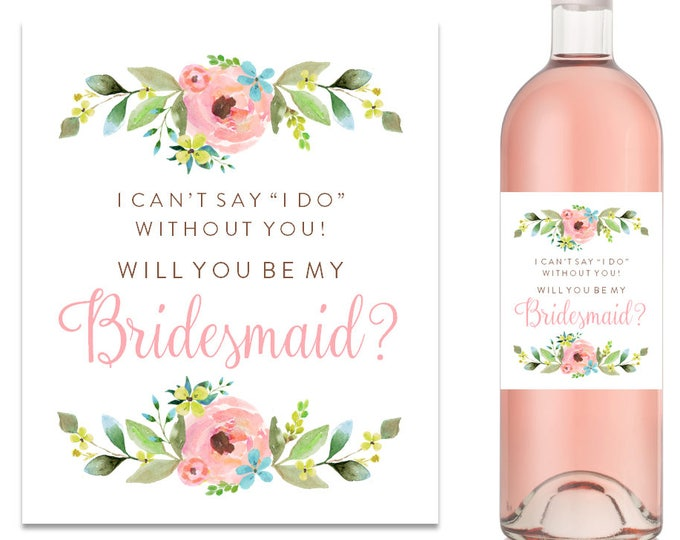 Will You Be My Bridesmaid Wine Label Bridesmaid Proposal Wine Label (FPS0013)