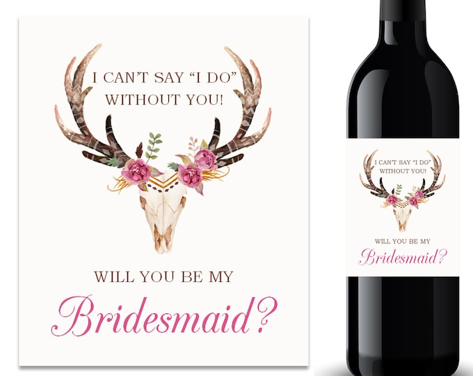 Will You Be My Bridesmaid Wine Label Bridesmaid Proposal Wine Label (FPS0044)