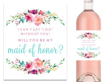Will You Be My Bridesmaid Wine Label, Bridesmaid Proposal Wine Label, Bridesmaid Gift, Maid of Honor Wine Label - (FPS0021)
