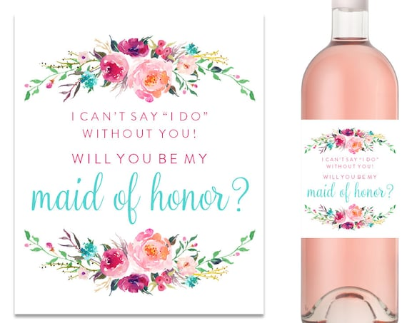Will You Be My Bridesmaid Wine Label Bridesmaid Proposal Wine Label (FPS0021)