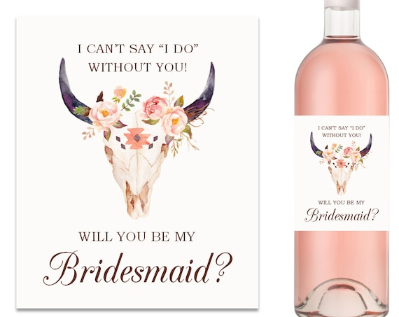 Will You Be My Bridesmaid Wine Label Bridesmaid Proposal Wine Label (FPS0010)