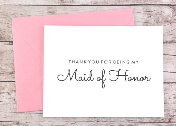 Thank You For Being My Maid Of Honor Card Maid Of Honor Thank Etsy