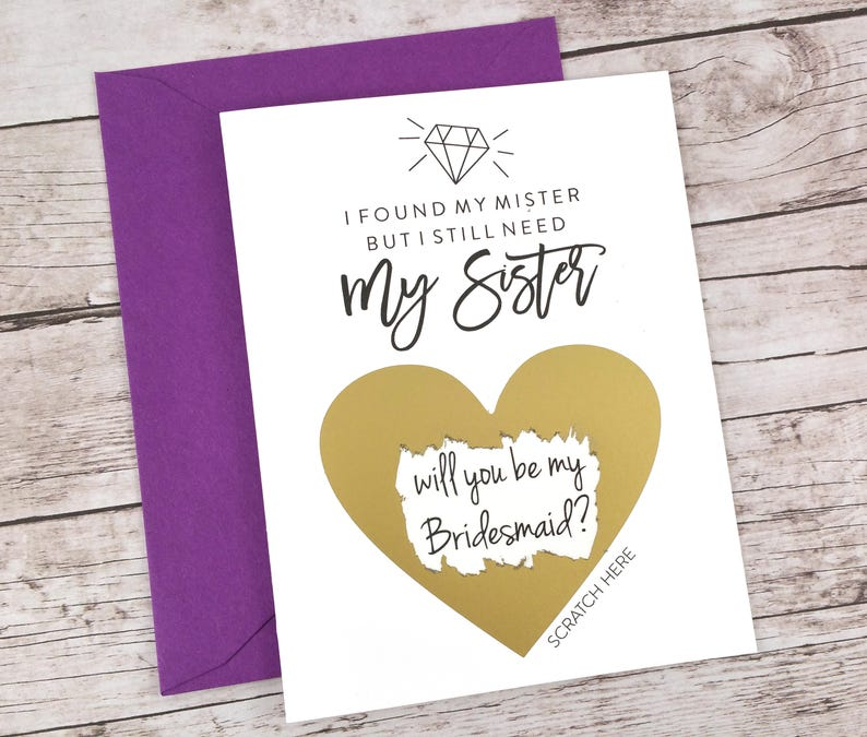 FPS00S28 Bridesmaid Proposal Card Bridesmaid Gift - Bridesmaid Scratch Off Card I Found My Mister But I Still Need My Sister Card