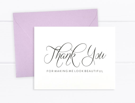 Makeup Artist Thank You Card Hair Stylist Thank You Card Wedding Vendor Thank You Thank You For Making Me Look Fabulous Card FPS0017