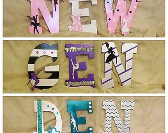 DANCE / BALLERINA / BALLET Theme Hand-Painted 9 Inch Wooden Letters