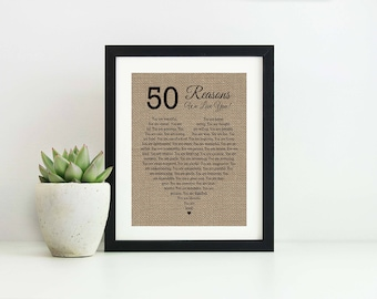 50 Reasons Why I Love You Mothers Day Gift From Daughter 50th Birthday We Anniversary For Husband Wife