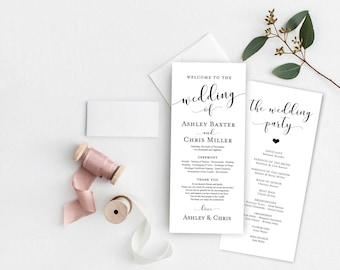 Silver Wedding Program Template Silver Editable Program Etsy