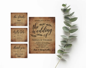 Rustic Wedding Invitation Etsy