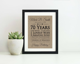 70th Birthday Gift For Mom Dad Ideas Men Grandma