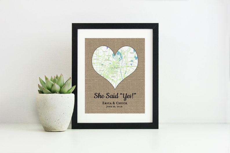 Engagement Gift Map Print for Couple Where It All Began Map image 0