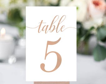Rose Gold Table Numbers- Rose Gold Wedding Table Number- Rose Gold Table Decor-Printable Table Number-Wedding Number Signs-Rose Gold Numbers