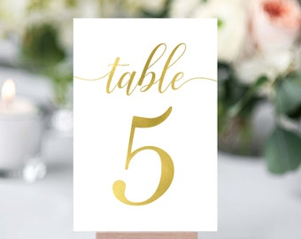 Gold Table Numbers- Wedding Table Number- Wedding Table Decor- Rustic Table Number- Wedding Number Signs- Table Number Cards- Gold Numbers