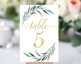 Greenery Table Numbers- Wedding Table Number- Gold Table Numbers- Wedding Numbers- Rustic Table Numbers Printable- Wedding Table Decor-