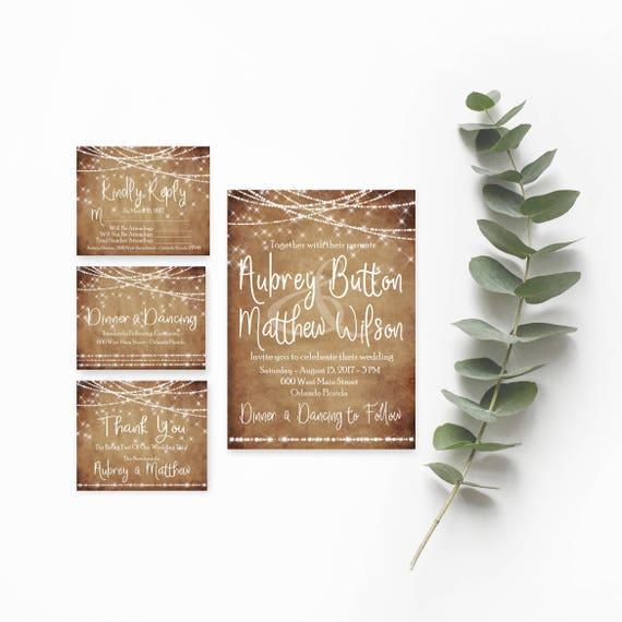 3fa5256f67360 Rustic Wedding Invitation Template- Wedding Invites- Country Wedding  Invitations-Rustic Wedding Suite-Boho Wedding Invitation-String Lights