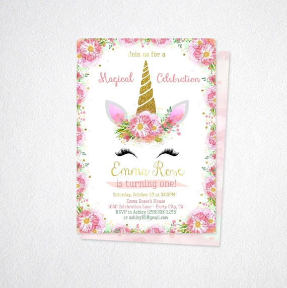 Floral Unicorn Invitation First Birthday Invitations