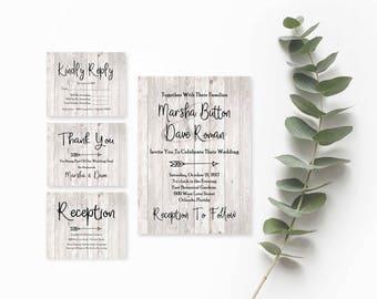Rustic Wedding Suite- Wedding Invitation Printable-Wedding Invitation Template Download- Printable Wedding Invitation Suite-Wedding Template