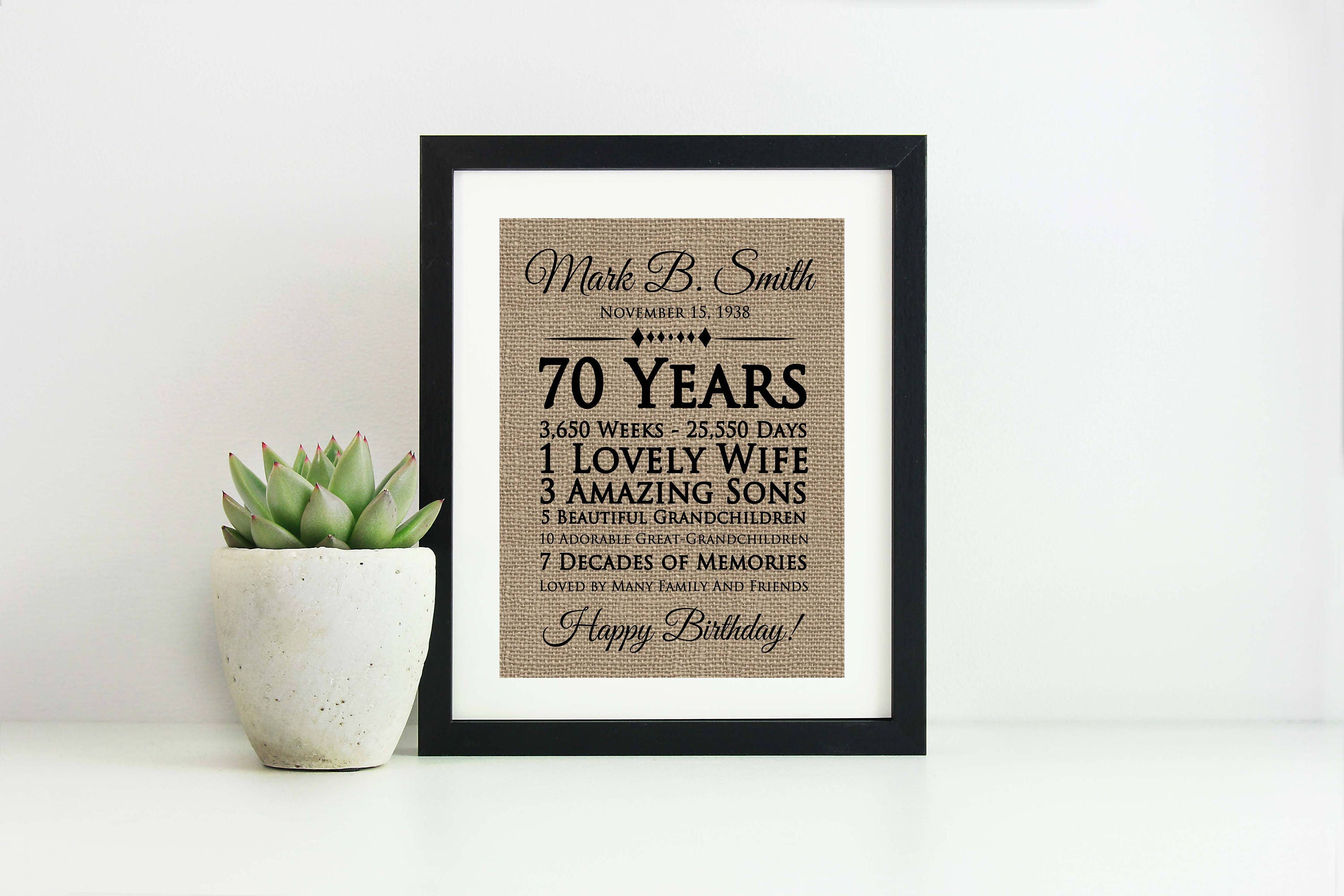 70th Birthday Gift For Mom Dad