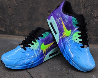 best service 2f518 1b2df custom airbrush nike air max 90 sneaker blue purple galaxy style