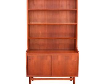 Vintage Danish Mid Century Modern Bookshelf Record Cabinet By Johannes Sorth