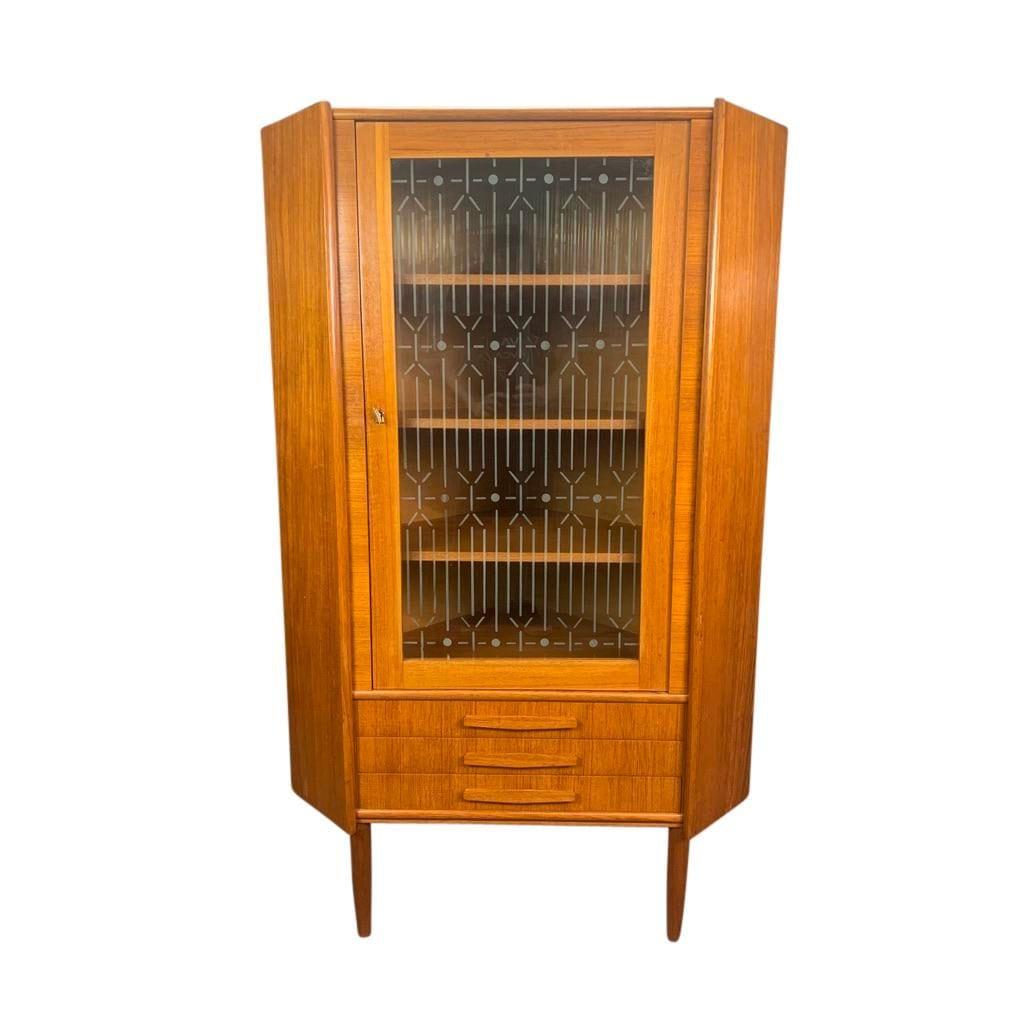 Vintage Danish Mid Century Modern Teak And Glass Corner Cabinet