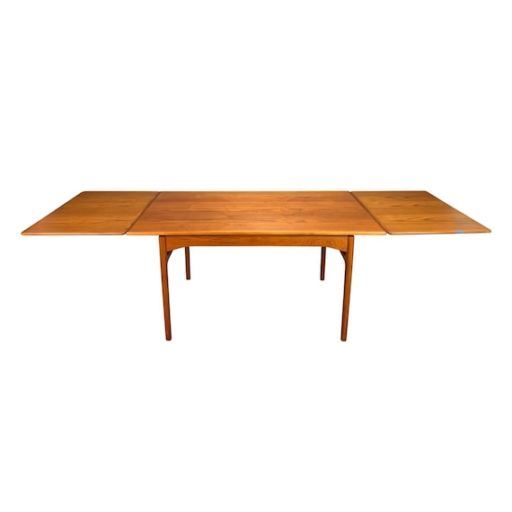 5c26602724016 Vintage Danish Mid Century Modern Teak Draw Leaf Dining Table