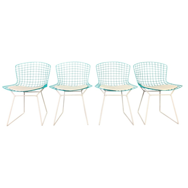 Vintage Mid Century Modern Harry Bertoia For Knoll Chairs Set Of 4