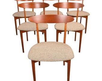 Vintage Danish Modern Teak & Oak Dining Chairs by Kurt Ostervig. Set of 6.